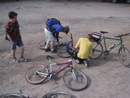 Jack, Smithy and Harris. Mending a puncture. Again.