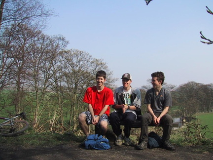 Me, Harris and Jack on a bench somewhere near Lanchester