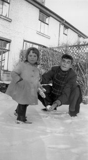 Anna and George in the snow, January 1962