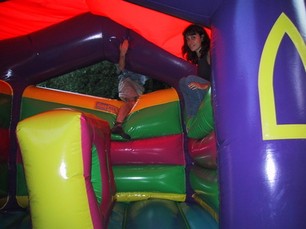 Me[alex] and laura on the bouncy castle