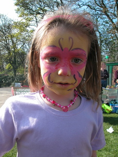 Grace's painted face