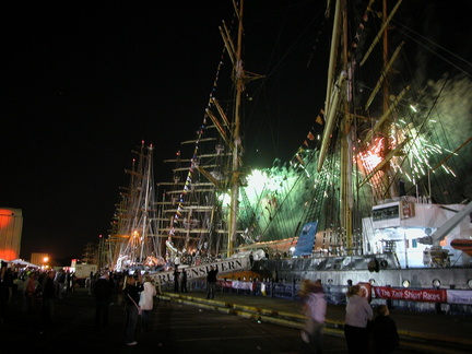 Fireworks and tall ships