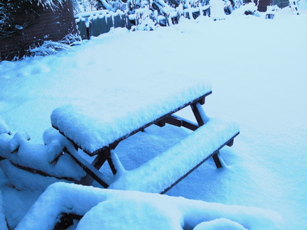 Bench with snow on