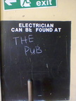 Electrician can be found at the pub